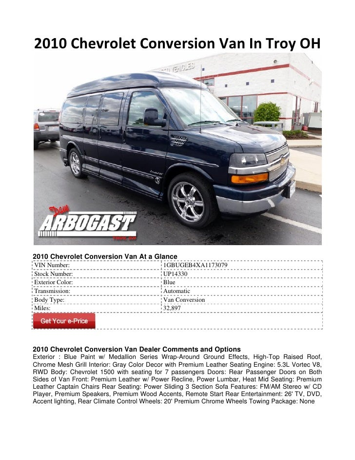 2010 Chevrolet Conversion Van In Troy OH2010 Chevrolet Conversion Van At a GlanceVIN Number:                              ...