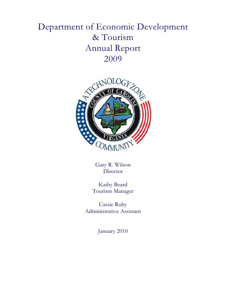 Department of Economic Development              & Tourism            Annual Report                2009                   G...
