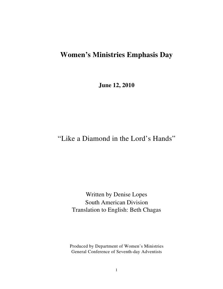 "Women's Ministries Emphasis Day                   June 12, 2010     ""Like a Diamond in the Lord's Hands""              Writ..."