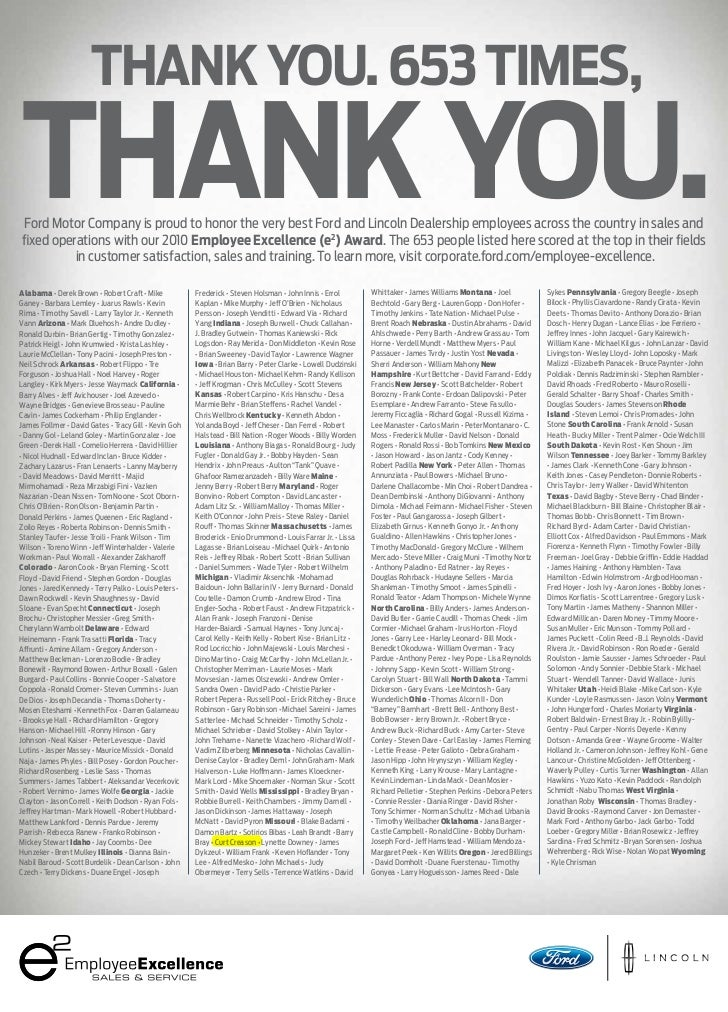 Thank you. 653 Times, Thank you. Ford Motor Company is proud to honor the very best Ford and Lincoln Dealership employees ...
