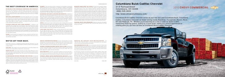 10CHECOMCAT01             Columbiana Buick Cadillac Chevrolet the best coverage in america.                               ...