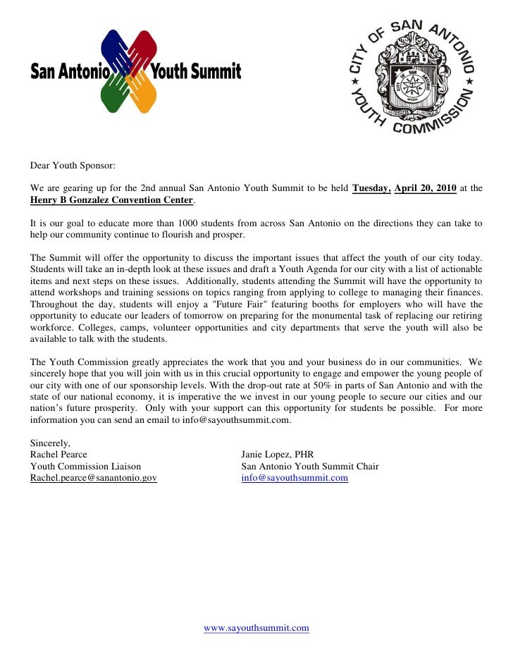 Dear Youth Sponsor:  We are gearing up for the 2nd annual San Antonio Youth Summit to be held Tuesday, April 20, 2010 at t...