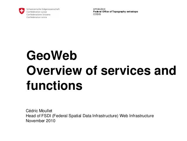 armasuisse Federal Office of Topography swisstopo COSIG GeoWeb Overview of services and functions Cédric Moullet Head of F...