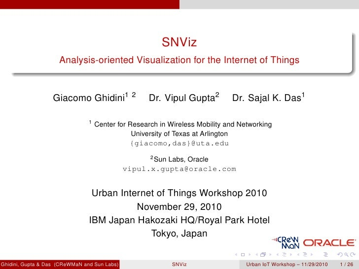 SNViz                     Analysis-oriented Visualization for the Internet of Things                   Giacomo Ghidini1   ...