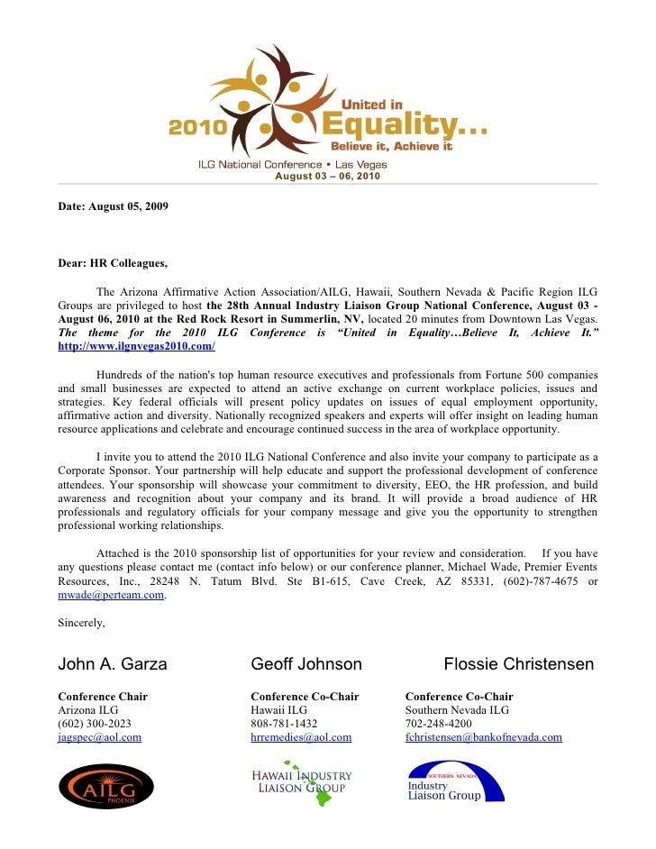 August 03 – 06, 2010  Date: August 05, 2009    Dear: HR Colleagues,          The Arizona Affirmative Action Association/AI...