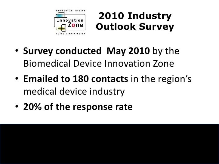 2010 Industry <br />Outlook Survey <br />Surveyconducted  May 2010 by the Biomedical Device Innovation Zone<br />Emailed t...