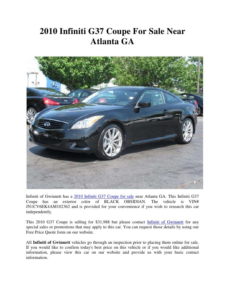 2010 infiniti g37 coupe for sale near atlanta ga. Black Bedroom Furniture Sets. Home Design Ideas