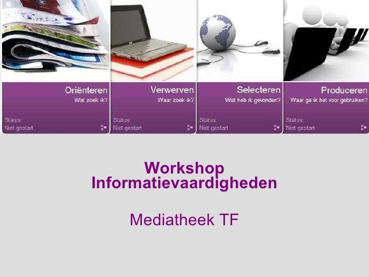 Inleiding workshop informatievaardigheden SoST 1e jaars oktober 2010
