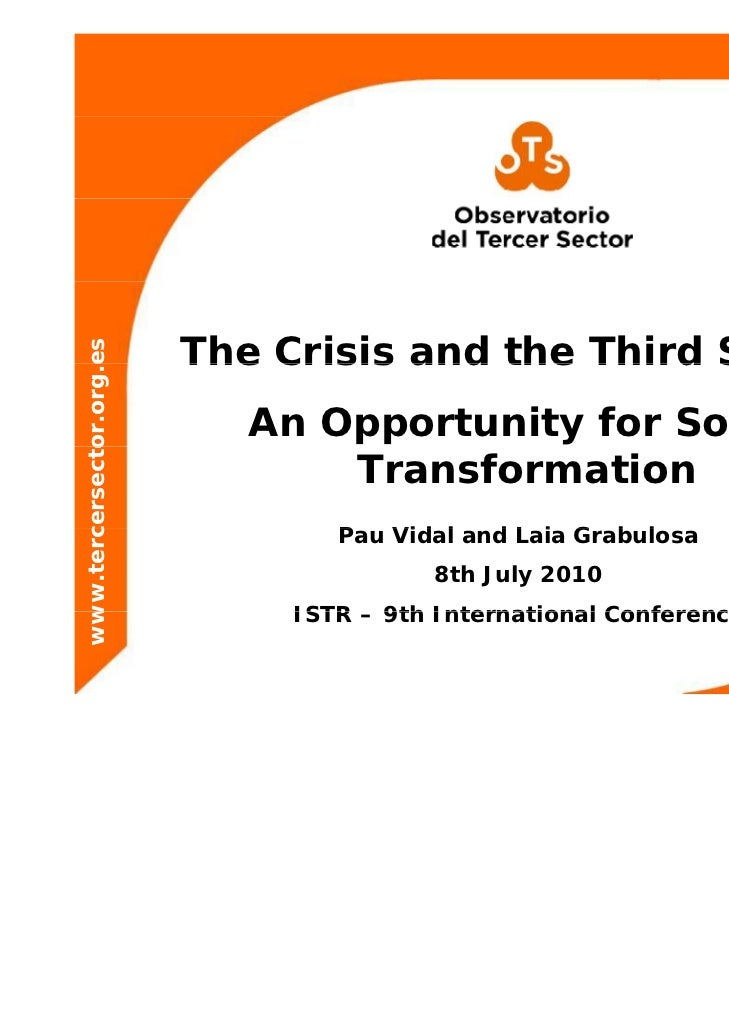 The Crisis and the Third Sector: An Opportunity for Social Transformation