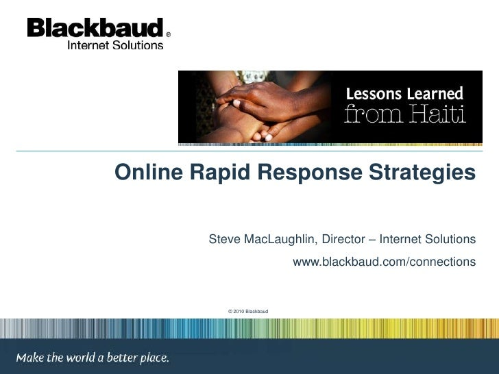 Online Rapid Response Strategies<br />Steve MacLaughlin, Director – Internet Solutions<br />www.blackbaud.com/connections<...