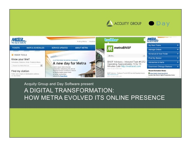 Acquity Group and Day Software present A DIGITAL TRANSFORMATION: HOW METRA EVOLVED ITS ONLINE PRESENCE