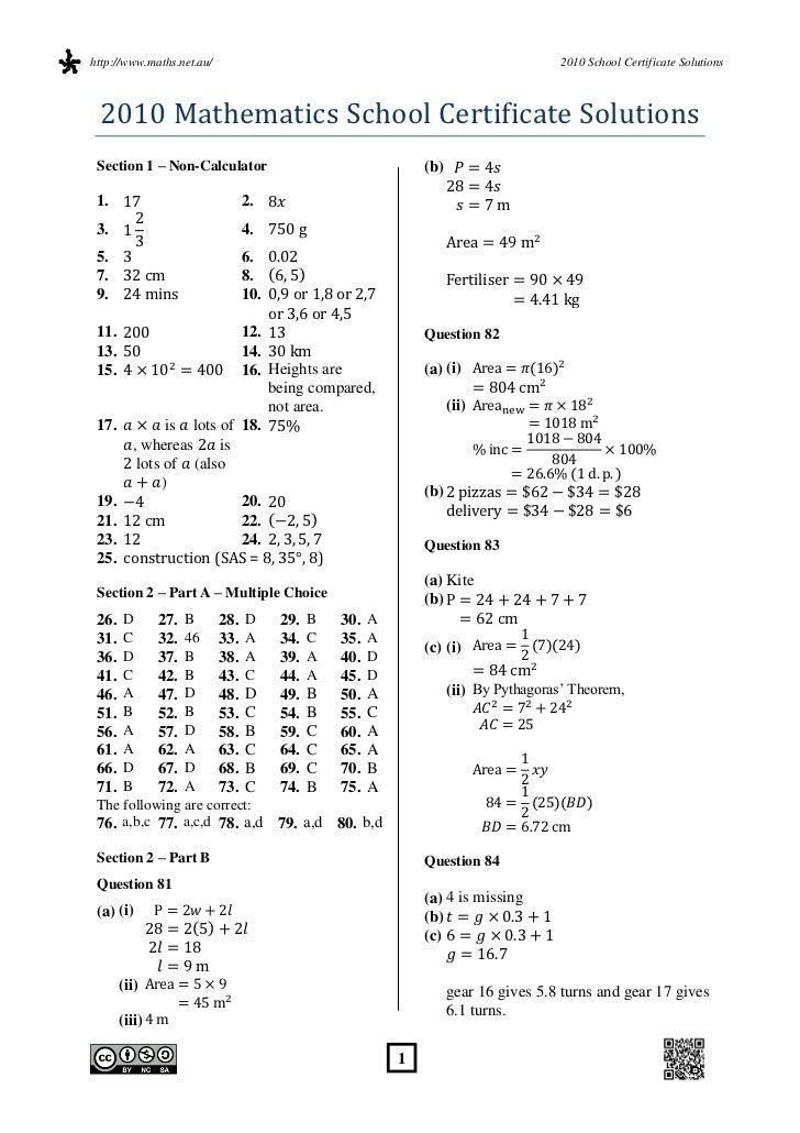 http://www.maths.net.au/                                                    2010 School Certificate Solutions 2010 Mathema...