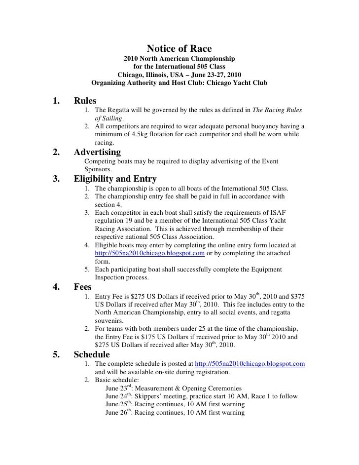 Notice of Race, 2010 505 North American Chamionships