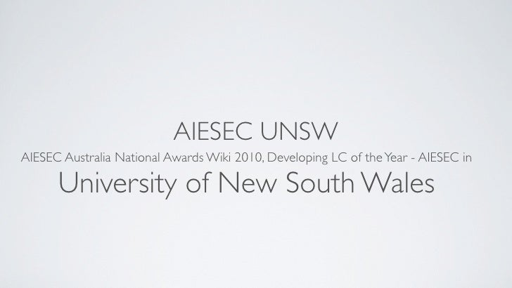 AIESEC UNSW National Awards 2010 Wiki - Developing LC of the Year