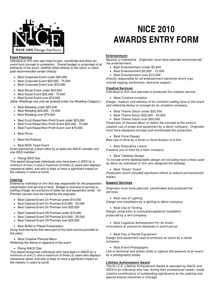 NICE 2010                                                                                 AWARDS ENTRY FORM Event Planning...