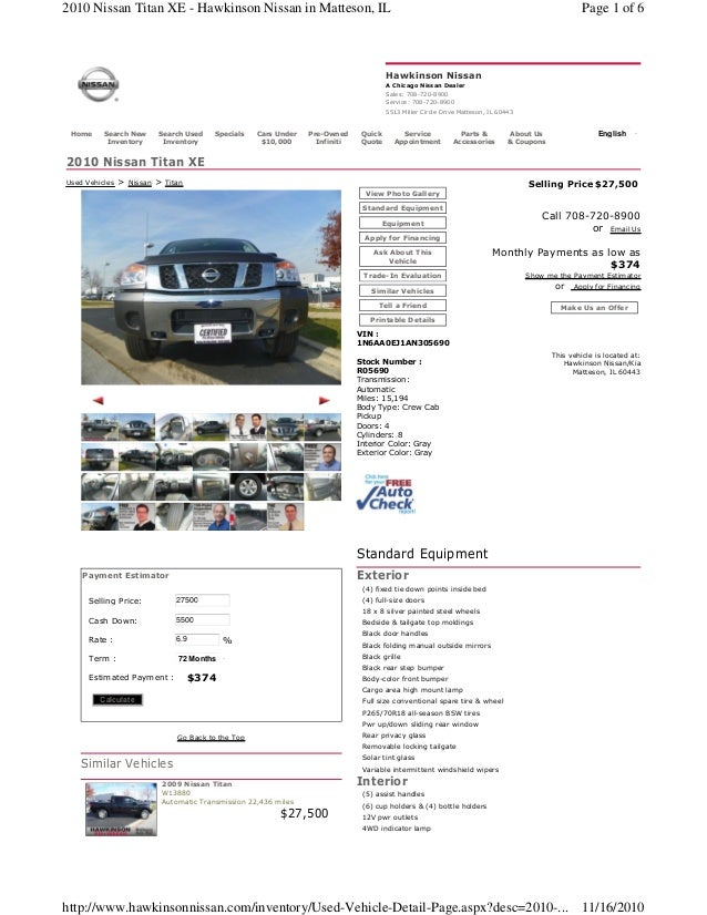2010 Nissan Titan XE for sale chicago