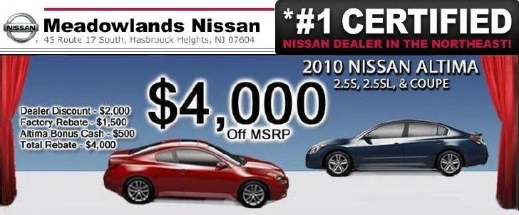 2010 Nissan Altima Purchase Special – Meadowlands Nissan Hasbrouck Heights NJ