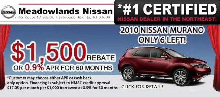 2010 Nissan Murano Purchase Special – Meadowlands Nissan Hasbrouck Heights NJ