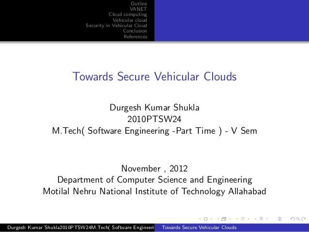 Outline                                                   VANET                                          Cloud computing  ...