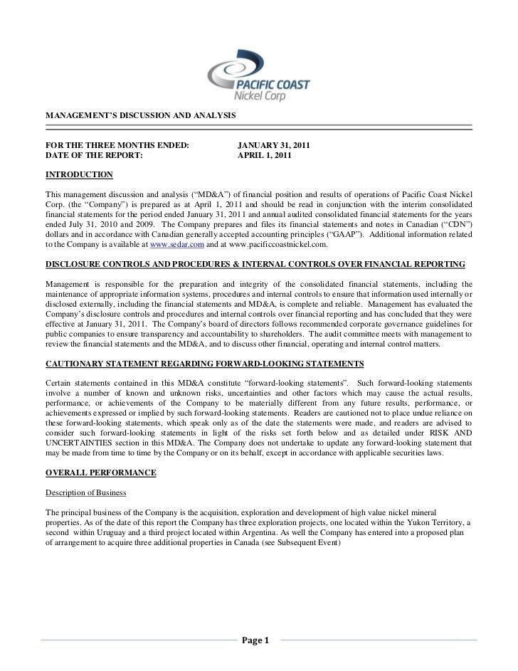 Q4 MD&A & Interim Financial Statements 2010