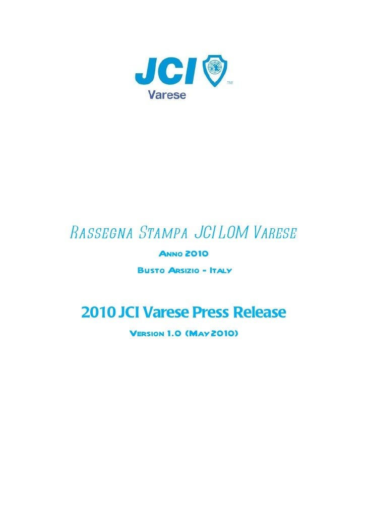 JCI Varese 2010 Press Release
