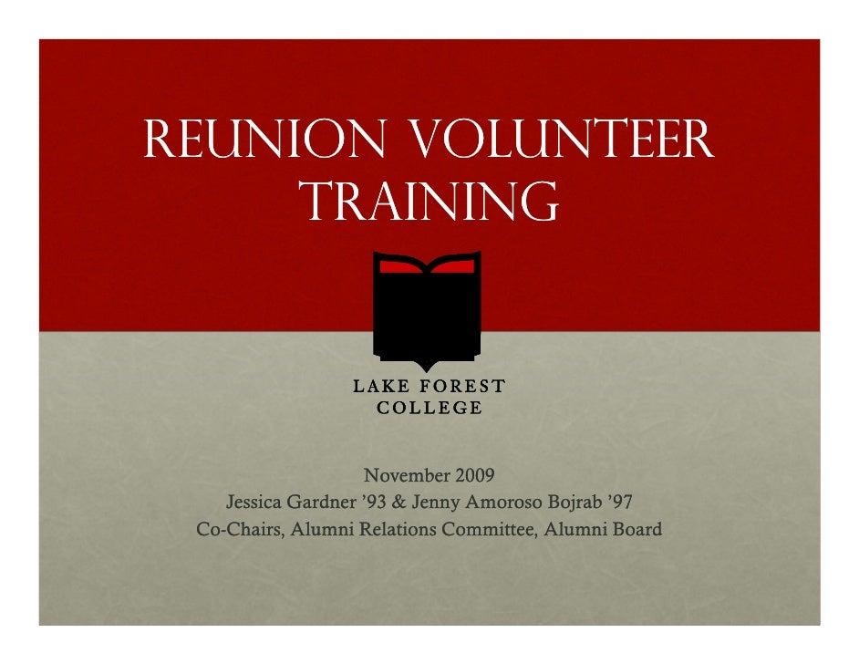 2010 Reunion Volunteer Training