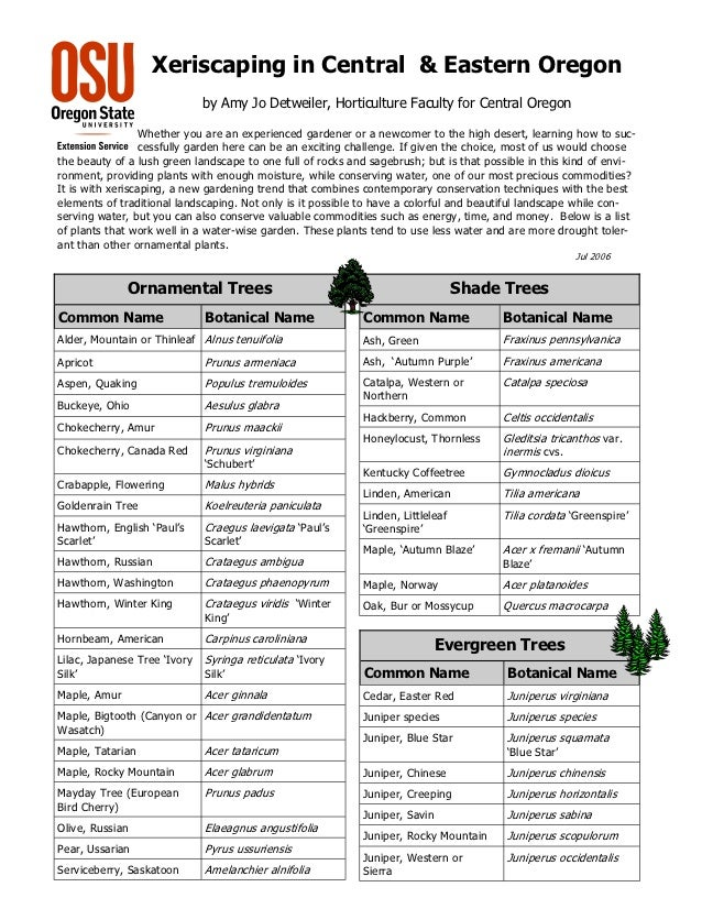 Xeriscaping Plant and Tree List for Central and Eastern Oregon