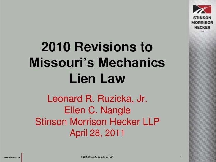 Leonard R. Ruzicka, Jr.<br />Ellen C. Nangle<br />Stinson Morrison Hecker LLP<br />April 28, 2011<br />www.stinson.com<br ...