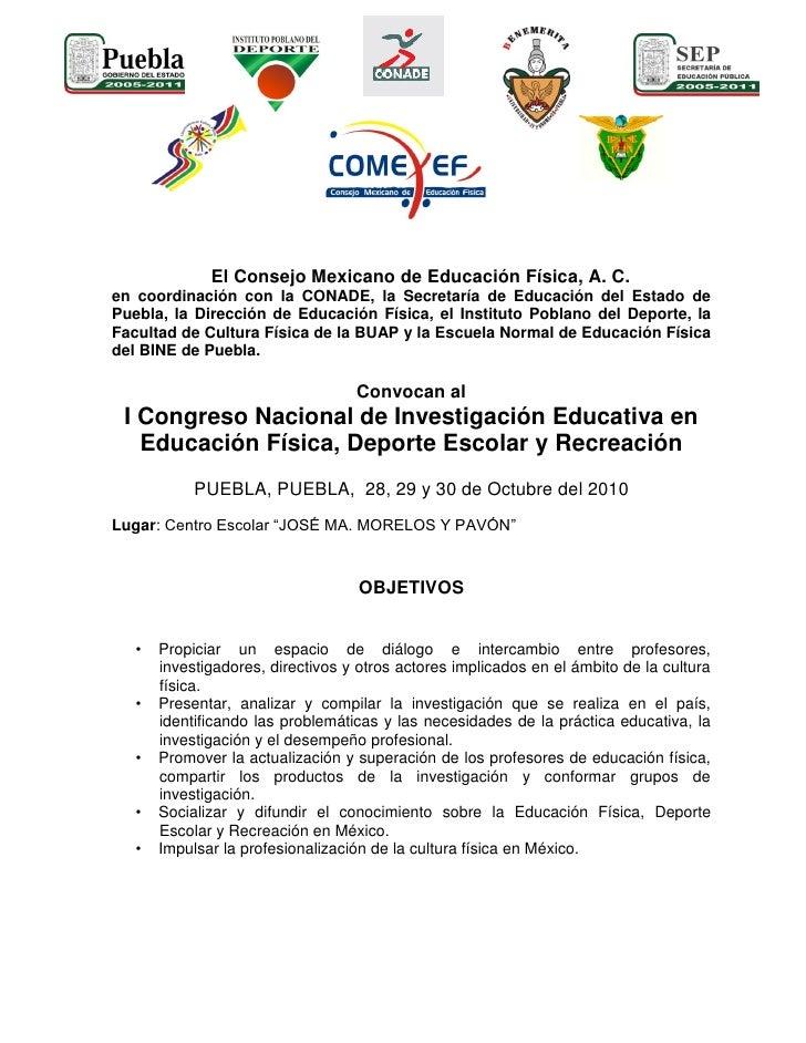 1er Congreso de Investigación Educativa en Educación Física, Deporte Escolar y Recreación