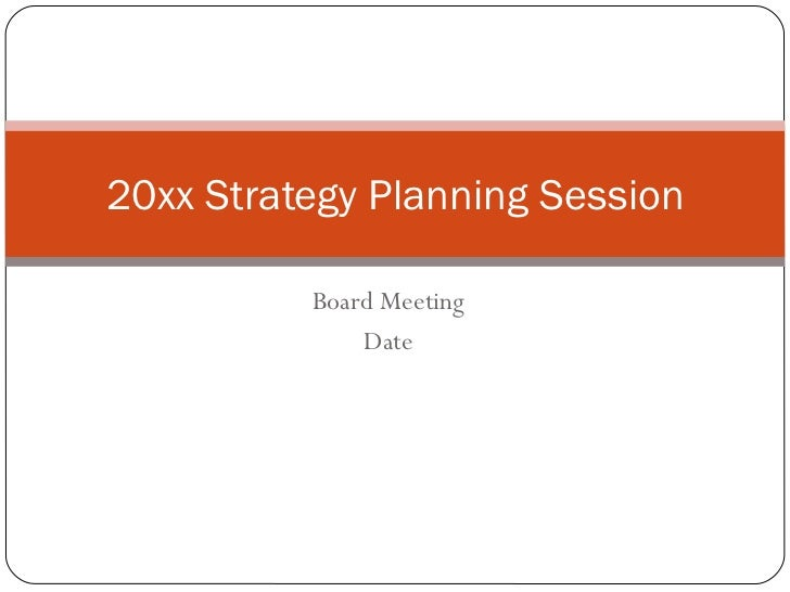 Non Profit Strategic Planning Session Template
