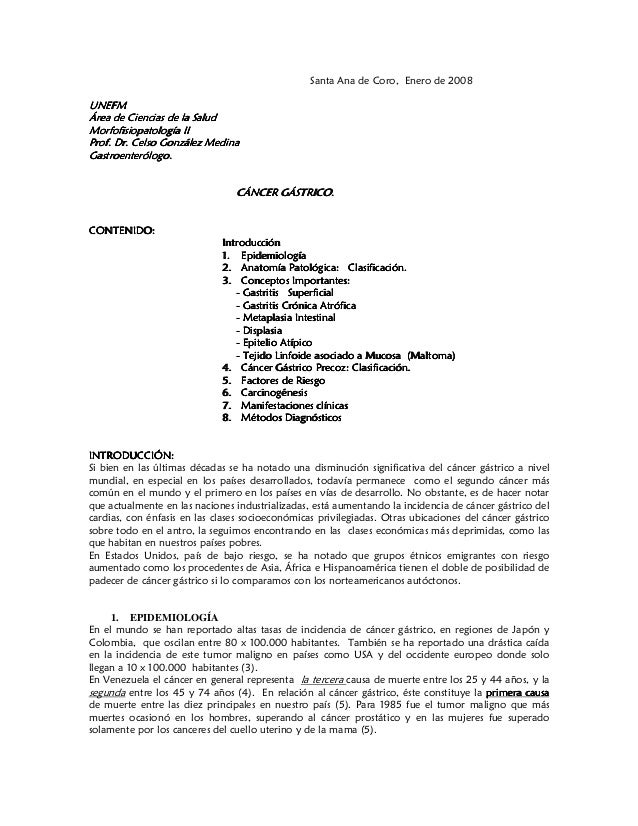 Santa Ana de Coro, Enero de 2008UNEFMÁrea de Ciencias de la SaludMorfofisiopatología IIProf. Dr. Celso González MedinaGast...