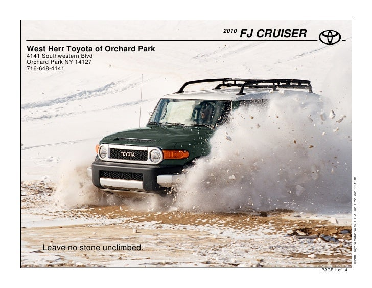 2010                                           FJ CRUISER West Herr Toyota of Orchard Park 4141 Southwestern Blvd Orchard ...