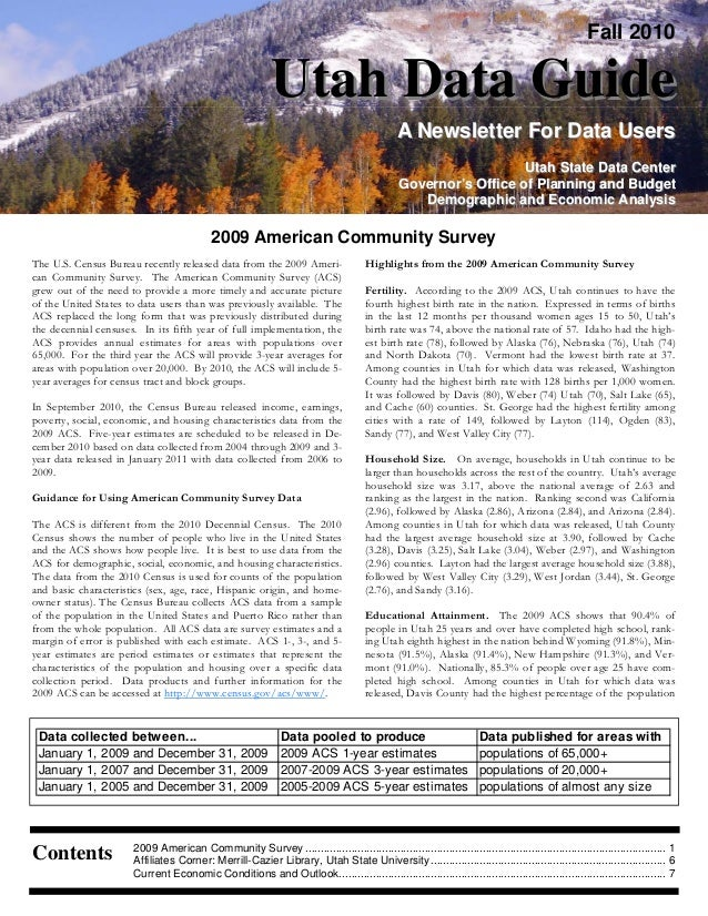 Fall 2010 Utah Data GuideUtah Data Guide A Newsletter For Data UsersA Newsletter For Data Users Utah State Data CenterUtah...