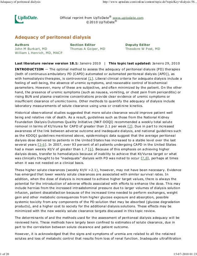 Official reprint from UpToDate® www.uptodate.com ©2010 UpToDate® Authors John M Burkart, MD William L Henrich, MD, MACP Se...