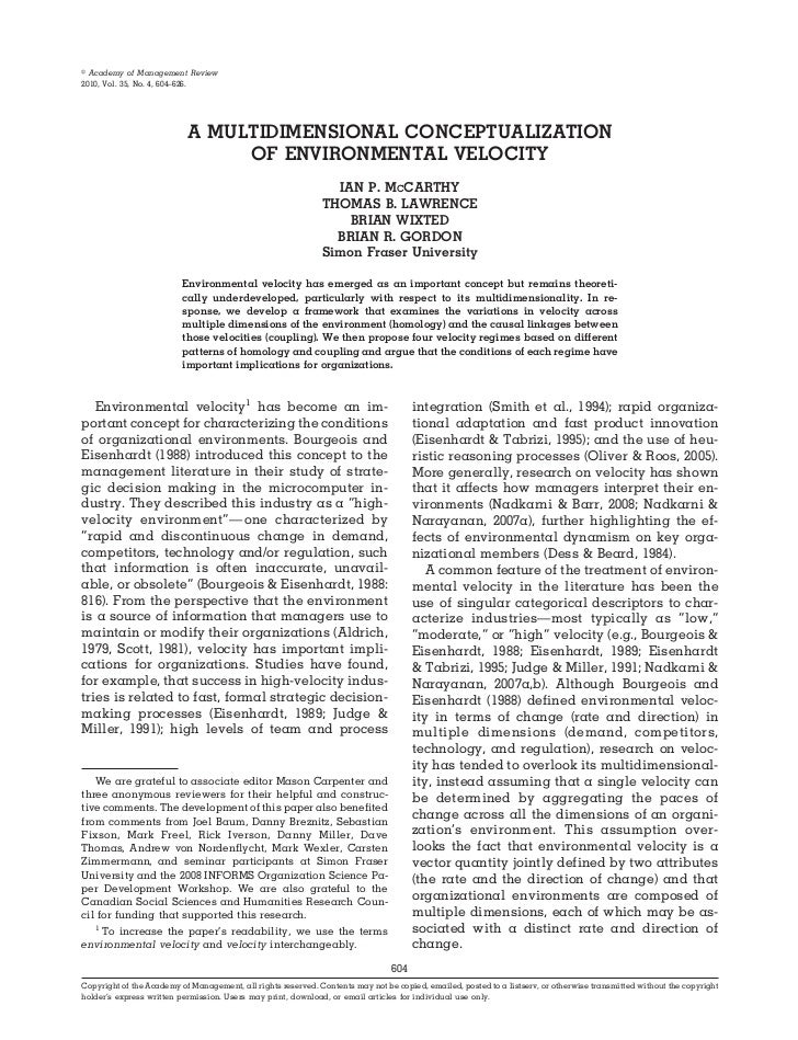 A MULTIDIMENSIONAL CONCEPTUALIZATION OF ENVIRONMENTAL VELOCITY