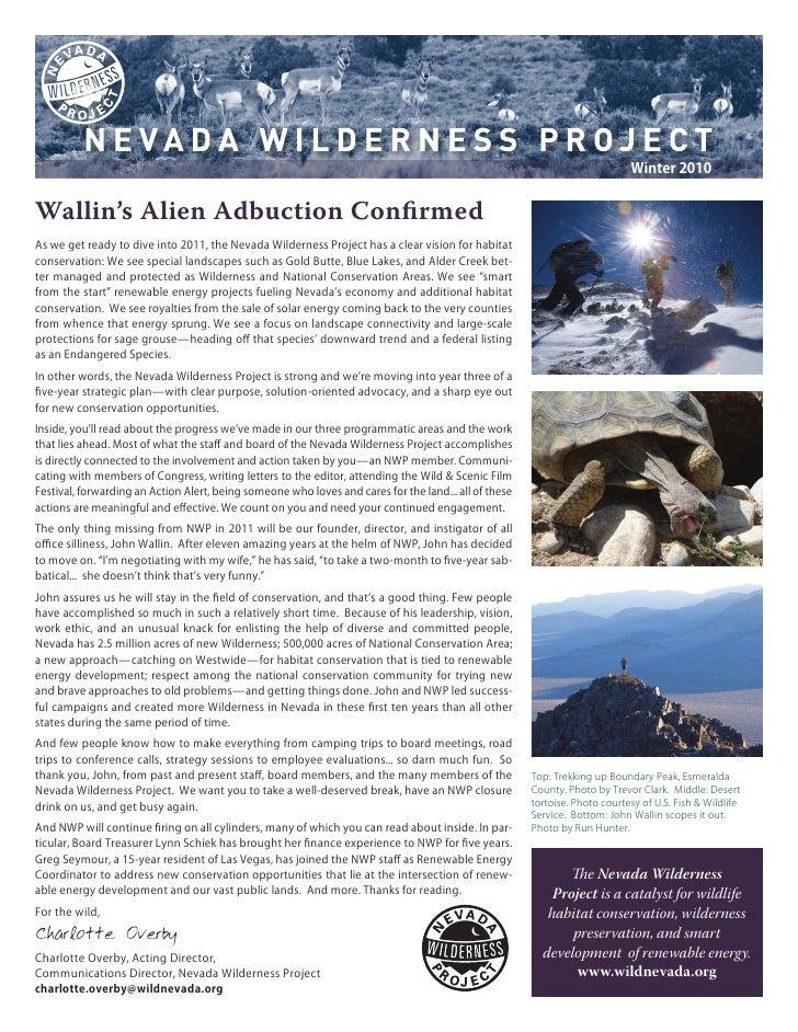 Winter 2010 Nevada Wilderness Project Newsletter
