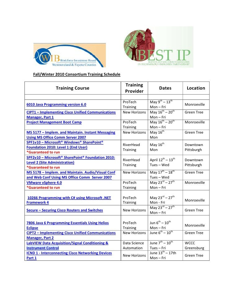 BEST IP Training Schedule Winter and Spring 2011