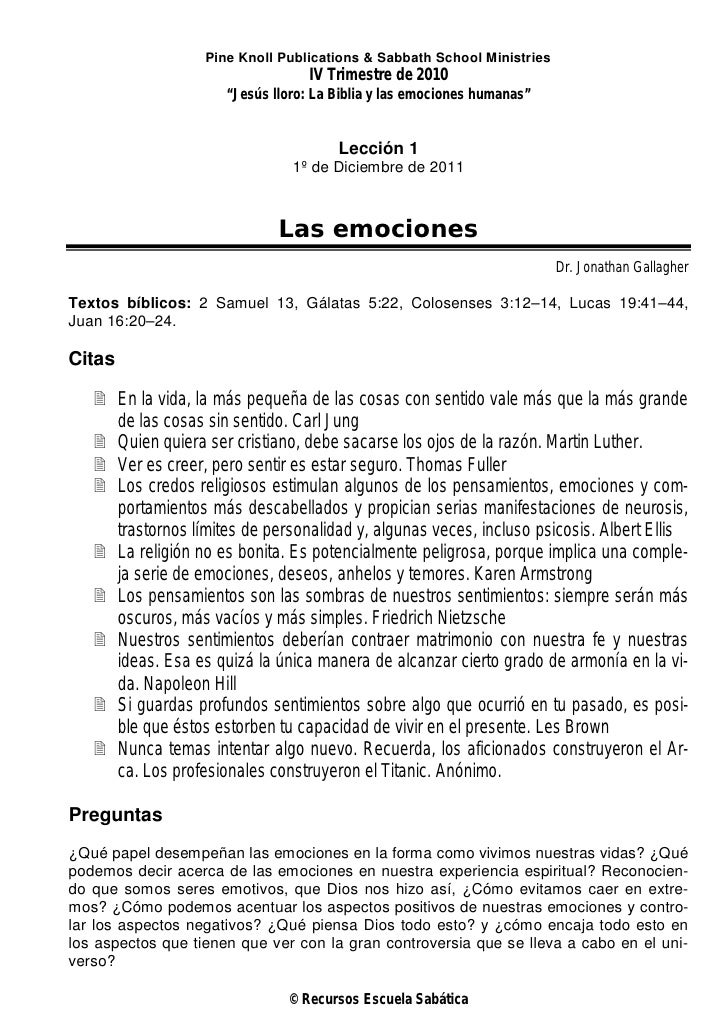 Pine Knoll Publications & Sabbath School Ministries                                   IV Trimestre de 2010                ...
