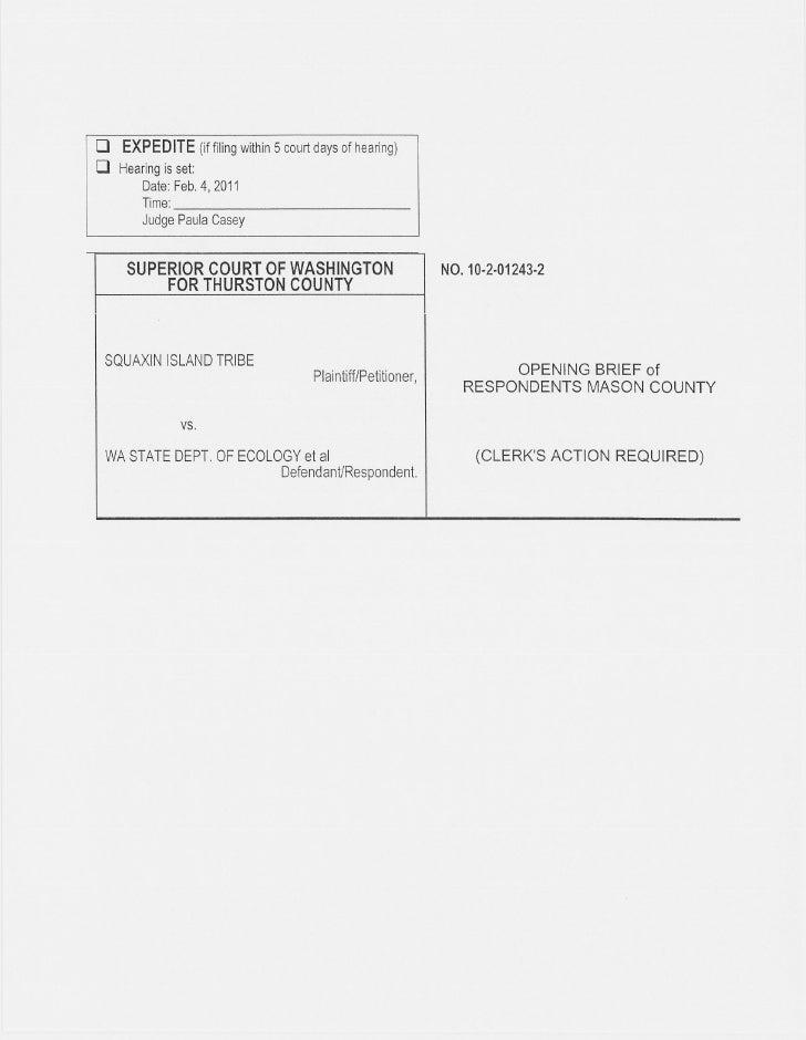 Squaxin Island Tribe v. Gregoire | Mason County response brief