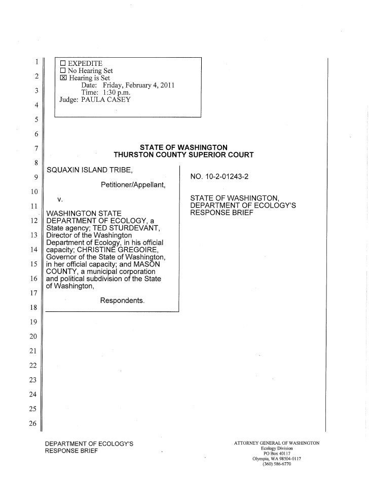 Squaxin Island Tribe v. Gregoire Ecology response brief