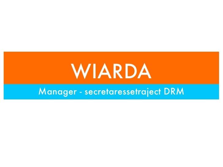 WIARDA Manager - secretaressetraject DRM