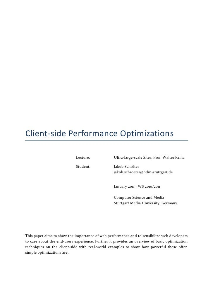 Client-side Performance Optimizations                             Lecture:             Ultra-large-scale Sites, Prof. Walt...