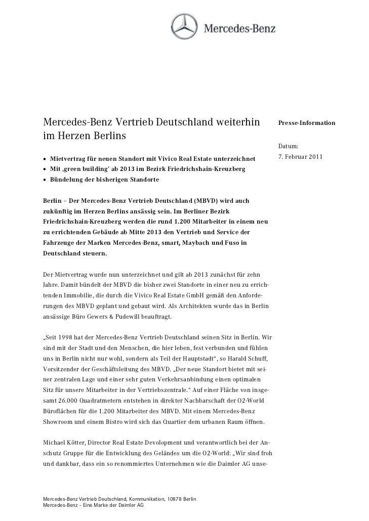 Mercedes-Benz Vertrieb Deutschland weiterhin                                         Presse-Informationim Herzen Berlins  ...