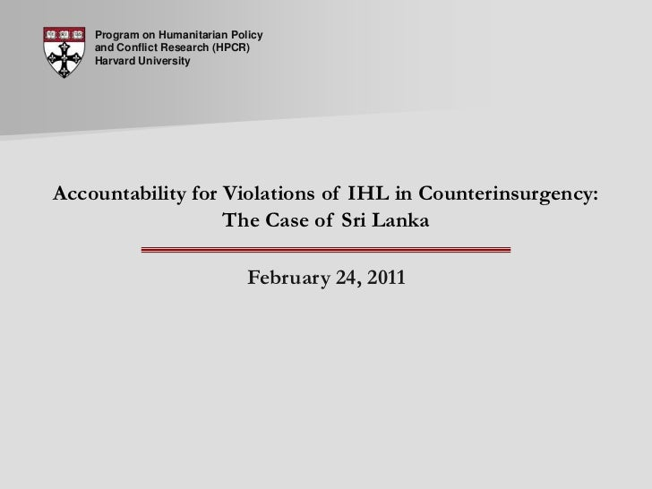 Live Seminar 30: Accountability for Violations of IHL in Counterinsurgency: The Case of Sri Lanka