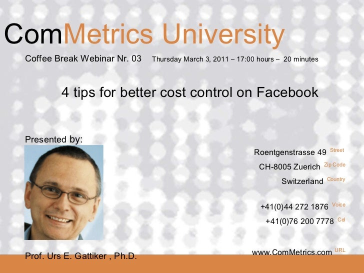 4 tips for better cost control on Facebook - ComMetrics University Radio Show 03