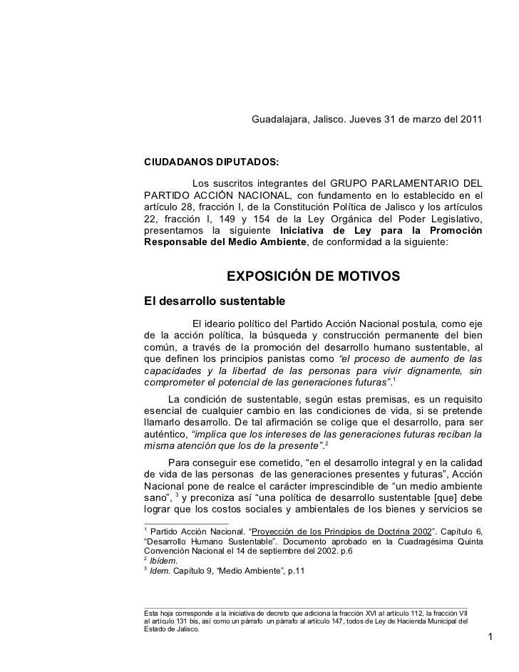 Guadalajara, Jalisco. Jueves 31 de marzo del 2011CIUDADANOS DIPUTADOS:           Los suscritos integrantes del GRUPO PARLA...