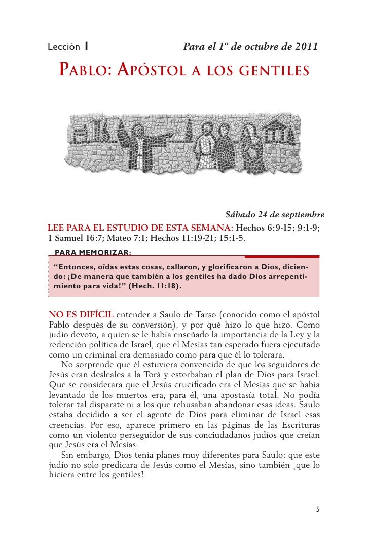 Lección 1                           Para el 1º de octubre de 2011  Pablo: aPóstol                      a los gEntilEs     ...