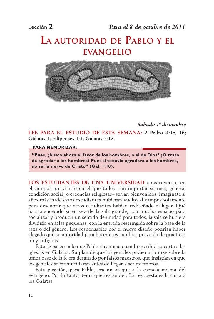 Lección 2                             Para el 8 de octubre de 2011     la autoridad             dE Pablo y El             ...
