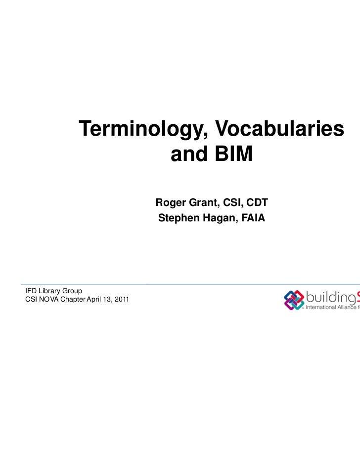 CTM Program: Terminology, Vocabularies, and BIM