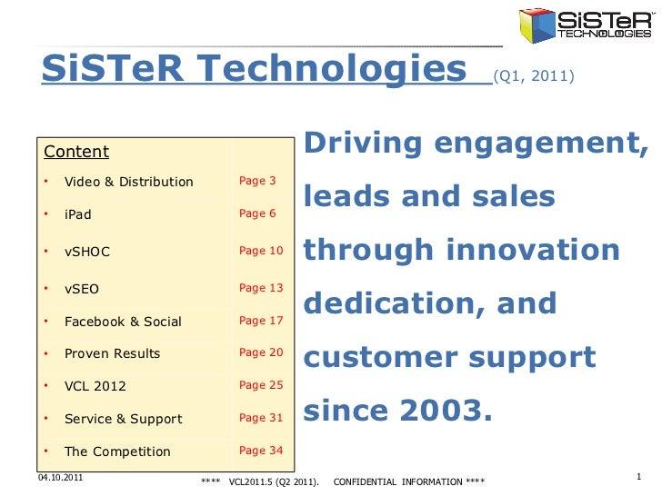 <ul><li>SiSTeR Technologies  (Q1, 2011) </li></ul><ul><li>Driving engagement, </li></ul><ul><li>leads and sales </li></ul>...